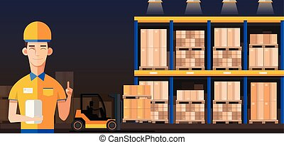 Warehouse Manager or worker in warehouse interior with goods, pallet trucks and container package boxes. Flat vector.