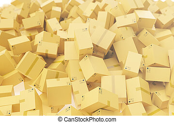 Warehouse or delivery concept, cardboard boxes background, 3d