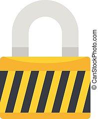Warehouse padlock icon, flat style