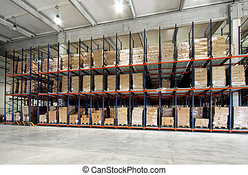 Warehouse pallet - Big shelf with lot of pallets in...