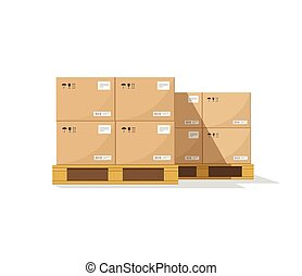 Warehouse parts boxes on wooden pallet vector illustration with shadow