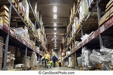 Photo of a corridor of shelves in a warehouse