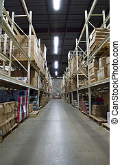 warehouse - wide angle view of large warehouse facility