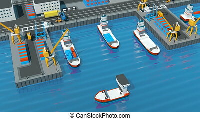 Warehouse port Isometric projection. Ships with containers...