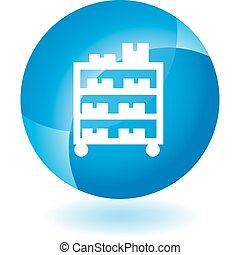 Warehouse Rack Cart - Warehouse rack cart icon isolated on a...