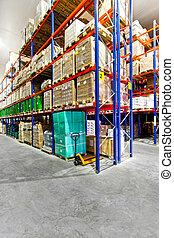 Warehouse rack - Rack with goods in big industrial warehouse...