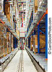 Warehouse robot - Automatic box transportation robot in big...