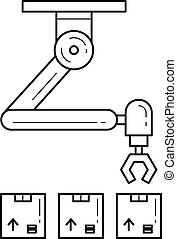Warehouse robotic arm vector line icon.
