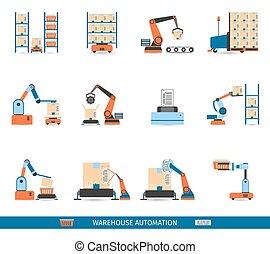 Warehouse Robots Icons Set