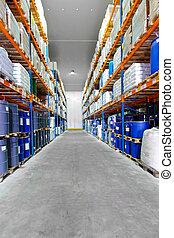 Warehouse row barrels