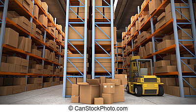 Warehouse scenes  - 3D rendering of a distribution warehouse