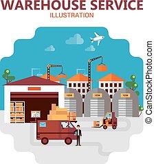 Warehouse Service Illustration - Warehouse service poster...