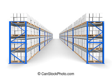 Warehouse Shelves 2 rows. Floor Shadows. Part of a Blue Warehouse and logistics series