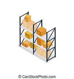 Warehouse shelves interior element isometric icon