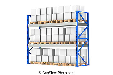 Warehouse Shelves. Pallet Rack, Full. Isolated on white. Part of a Blue Warehouse and logistics series.