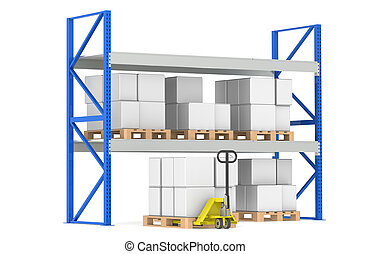 Warehouse Shelves, Pallets and a Hand Truck. Part of a Blue Warehouse and logistics series.