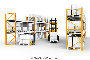 Warehouse. - Shelves, pallets and trucks. Part of warehouse...