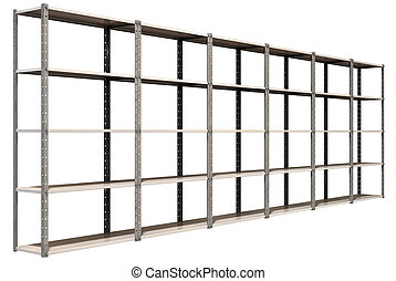 Warehouse Shelves Perspective - A regular assembled metal...