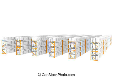 Warehouse Shelves - Rack x 60. Side view. Part of Warehouse...