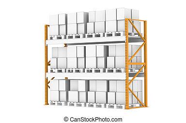 Warehouse Shelves - Pallet Rack, Full. Isolated on white....