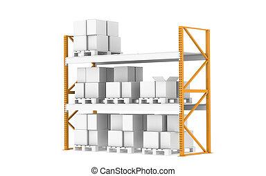 Warehouse shelves - Pallet Rack, Half full. Isolated on...