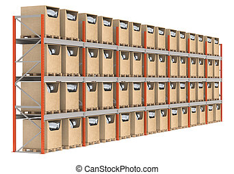 Warehouse Shelves with prioducts, side view.