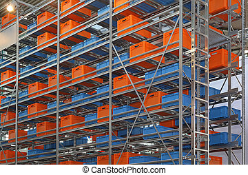 Warehouse shelving system with boxes and crates