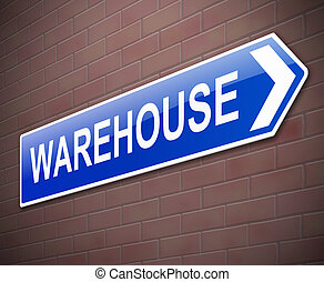 Warehouse sign. - Illustration depicting a sign directing to...