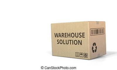 WAREHOUSE SOLUTION text on a warehouse carton. 3D animation