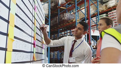 Warehouse staff in discussion at an information board 4k - ...