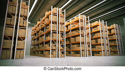 warehouse - 3D rendering of a distribution warehouse