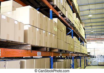Warehouse - Image of stocks stacked up in a warehouse.