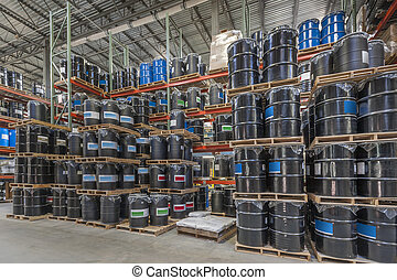 Warehouse storage - Barrel storage in an industrial...