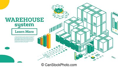 Warehouse System. Isometric Outline Cardboard Boxes and Pallet Isolated on White Background.