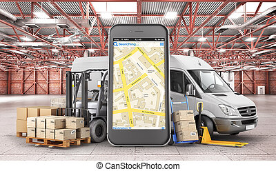 Warehouse transport. Car for delivery with forklift, trolley, manual forklift in the warehouse. 3d illustration