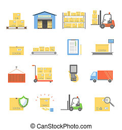 Warehouse transportation and delivery icons