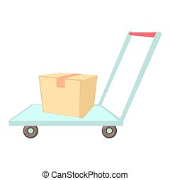 Warehouse trolley icon, cartoon style