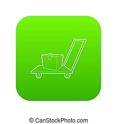 Warehouse trolley icon green