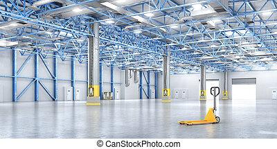 warehouse., vacío, ilustración, 3d