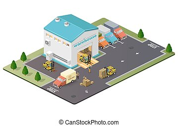 Warehouse vector illustration in the form of an isometric ...