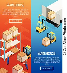 Warehouse vertical isometric banners with shelves with goods for storage, unloading cargo from lorry isolated vector illustration