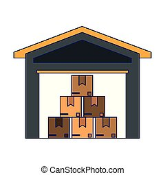 Warehouse with boxes inside