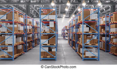 Warehouse with cardboard boxes inside on pallets racks, logistic center. Huge, large modern warehouse. Warehouse filled with cardboard boxes on shelves, Loop-able seamless 4K 3D animation