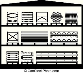 Warehouse with construction scaffolding - vector illustration