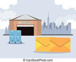 warehouse with envelopes postal service