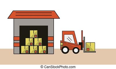 warehouse with forklift delivery service animation