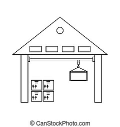 Warehouse with goods icon, outline style