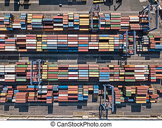 Warehouse with many containers
