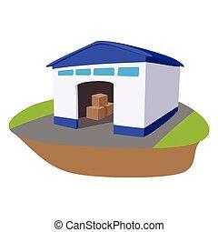 Warehouse with open door cartoon icon