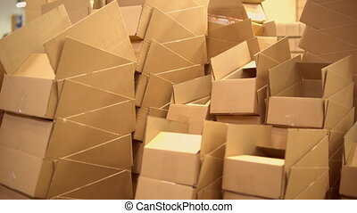 warehouse with packing material - view of the boxes in the...